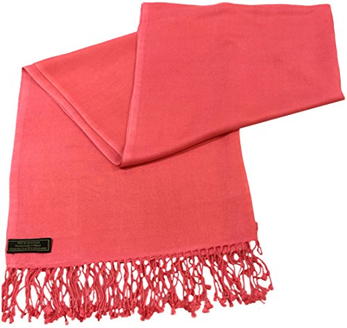 coral-pink-solid-color-design-nepalese-shawl-pashmina-scarf-wrap-cj-apparel-new