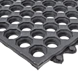 NoTrax T32 General Purpose Rubber Safety/Anti-Fatigue Ultra Mat, for Wet Areas, 3' Width x 3' Length x 1/2'' Thickness, Black