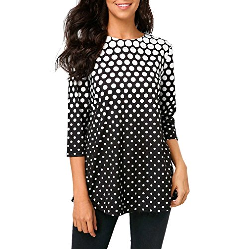 POHOK,HOT!Fashion Womens O-Neck T-Shirt Tops Three Quarter Sleeve Polka Dot Print Blouse