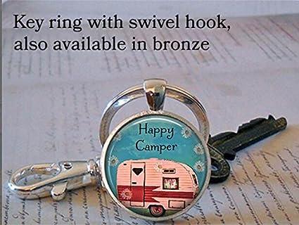 Happy Camper keychain, Happy Camper keychain, Happy Camper jewelry, camping trip, camping keychain keychain key fob