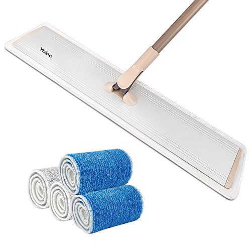 24' Flat Mop Yoleo Heavy Duty Floor Mop with Aluminum Head, Alloy Handle , Adjustable Velcros Locking 2 Wet and 2 Dry Microfiber Mop Refills Included