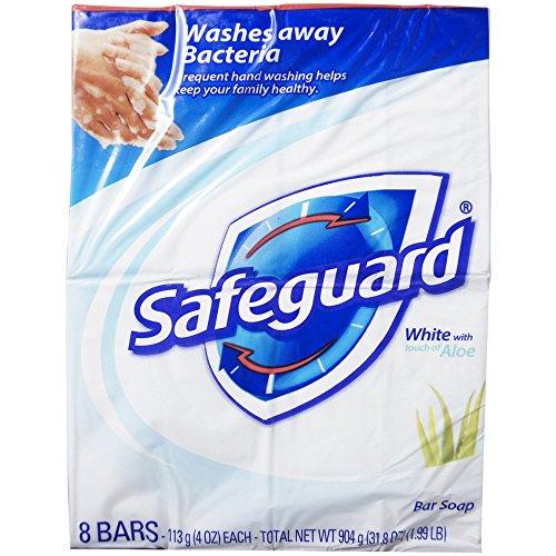 Safeguard Antibacterial Soap, White with Aloe, 4 oz bars, 8 ea
