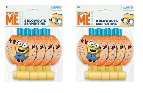 Despicable Me 2 Minions Blow Out Toy Party Supplies 16(ct) Blowouts Birthday -