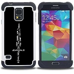 """SAMSUNG Galaxy S5 V / i9600 / SM-G900 - 3 en 1 impreso colorido de Altas Prestaciones PC Funda chaqueta Negro cubierta gel silicona suave (Espada Colección"""")"""