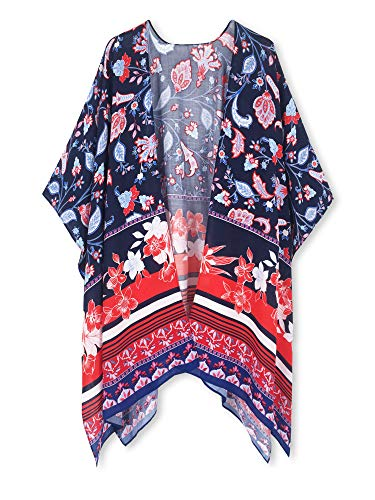 Lightweight Kimono - Spicy Sandia Swimsuit Cover ups for Women Open-Front Kimono Cardigan with Vintage Floral Print Beach Cover up Navy-Red