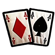 Diamond Spade Ace Cards Casino Poker Patch ''10.2 x 7.4 cm'' - Embroidered Iron On Patches Sew On Patches Embroidery Applikations Applique Catch The Patch