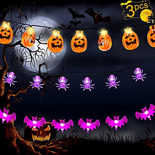 3 Pack Halloween String Lights, 9.8ft Total 60 LED Battery Operated Halloween Light, Orange Pumpkin, Purple Bat, Purple Spider Outdoor Decoration Lights for Halloween Decorations Outdoor Indoor