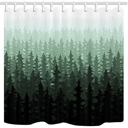 (NYMB Nature Forest Landscape Decor, Watercolor Pine Trees Shower Curtains for Bathroom, Polyester Fabric Waterproof Bath Curtain, 69X70in, Shower Curtain Hooks Included,Dark Green)