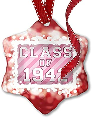 Amazon Com Neonblond Christmas Ornament Class Of 1942 In Pink Red