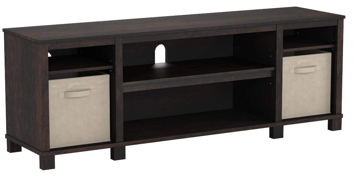 Mainstays TV Stand with Bins for TVs up to 65'', Multiple Colors (Espresso) by Mainstay* (Image #1)