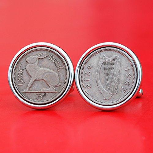 (1967 Irish Ireland 3 Pence Harp Coins Silver Plated Cufflinks NEW - Lucky Rabbit Hare)