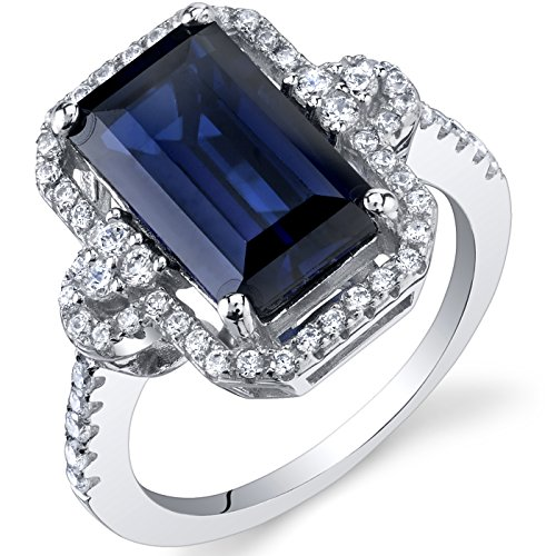 Peora Created Sapphire Cocktail Ring Sterling Silver 4.50 Carats Octagon Cut Size 8
