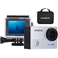 Andoer AN5000 20MP Action Camera WiFi 4k Waterproof with 5X Zoom 2-Inch LCD Screen Anti-shake 170° Wide Angle Lens Waterproof Case Portable Package Include 19 Accessories Kits