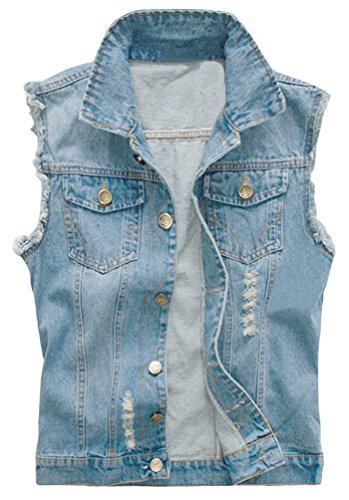 Camo Coll Men's Sleeveless Lapel Denim Vest Jacket (L, E1-Blue)