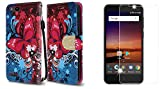 ZTE Blade Vantage | ZTE Avid 4 | ZTE Tempo X - Accessory Bundle: Synthetic Leather Wallet Carrying [Card Slots] Case - (Butterfly Symphony), Bubble-Free Tempered Glass Screen Protector, Atom Cloth