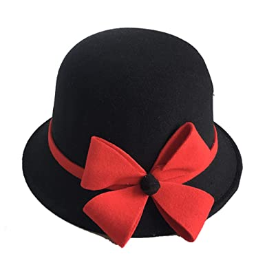 d6de330cf8d5dd Women's Gatsby Linen Cloche Hat With Lace Band and Flower(black+red-One