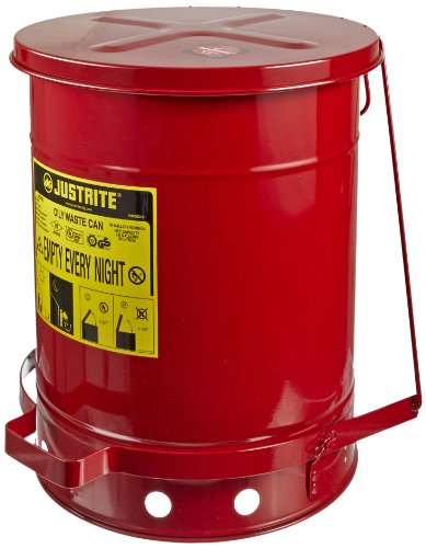 Justrite 09308 SoundGuard Galvanized Steel Oily Waste Safety Can with Foot Operated Cover, 10 Gallon Capacity, Red by Justrite