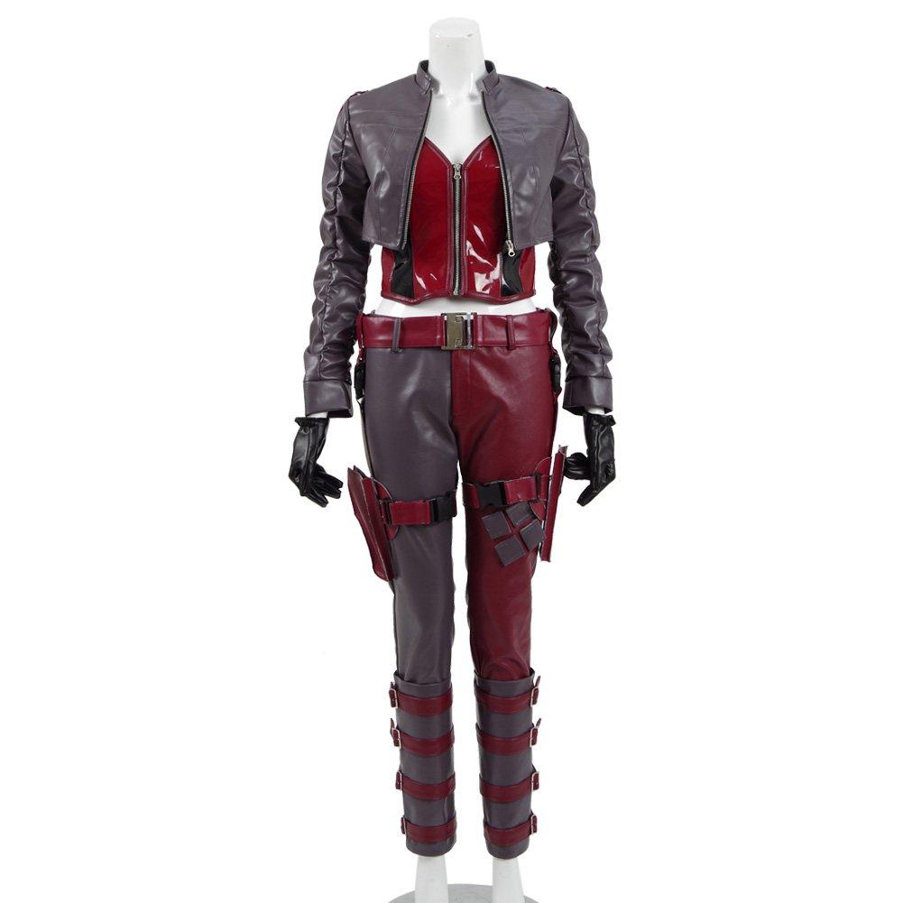 Womens Leather Jacket Uniform Set Women Battle Warrior Cosplay Halloween Costumes (L, Red-Gray)