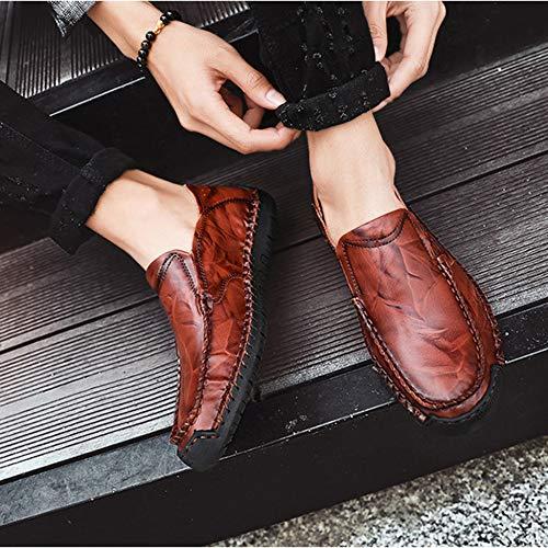Fannullone Sneaker Cuciture Antiscivolo Uomo A Da Mano Passeggio Mocassini Barca Casual Slip Redbrown Scarpe BqPxgv6
