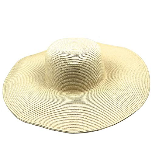 Ashley-OU hot 2017 Women's White hat Summer Black Oversized Sunbonnet Beach Cap Women's strawhat Sun hat Summer hat,Beige]()