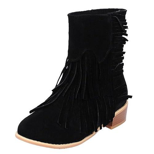 COOLCEPT Mujer Comodo Tacon Ancho Tacon Medio Sin Cordones Botines Con Flecos: Amazon.es: Zapatos y complementos