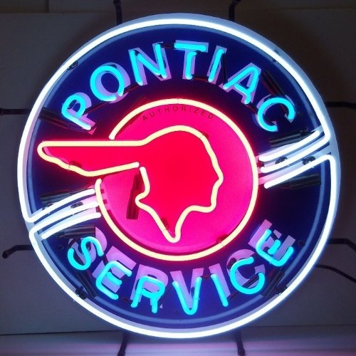 Neonetics 5PONBK Pontiac Service Neon Sign with Backing (The Neon Signs Of Service)