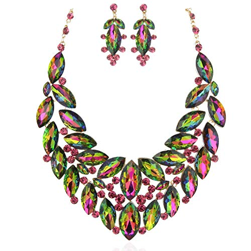 - SP Sophia Collection Gala Statement Round Drop Collar Cluster Necklace and Dangling Earring Set in Rainbow