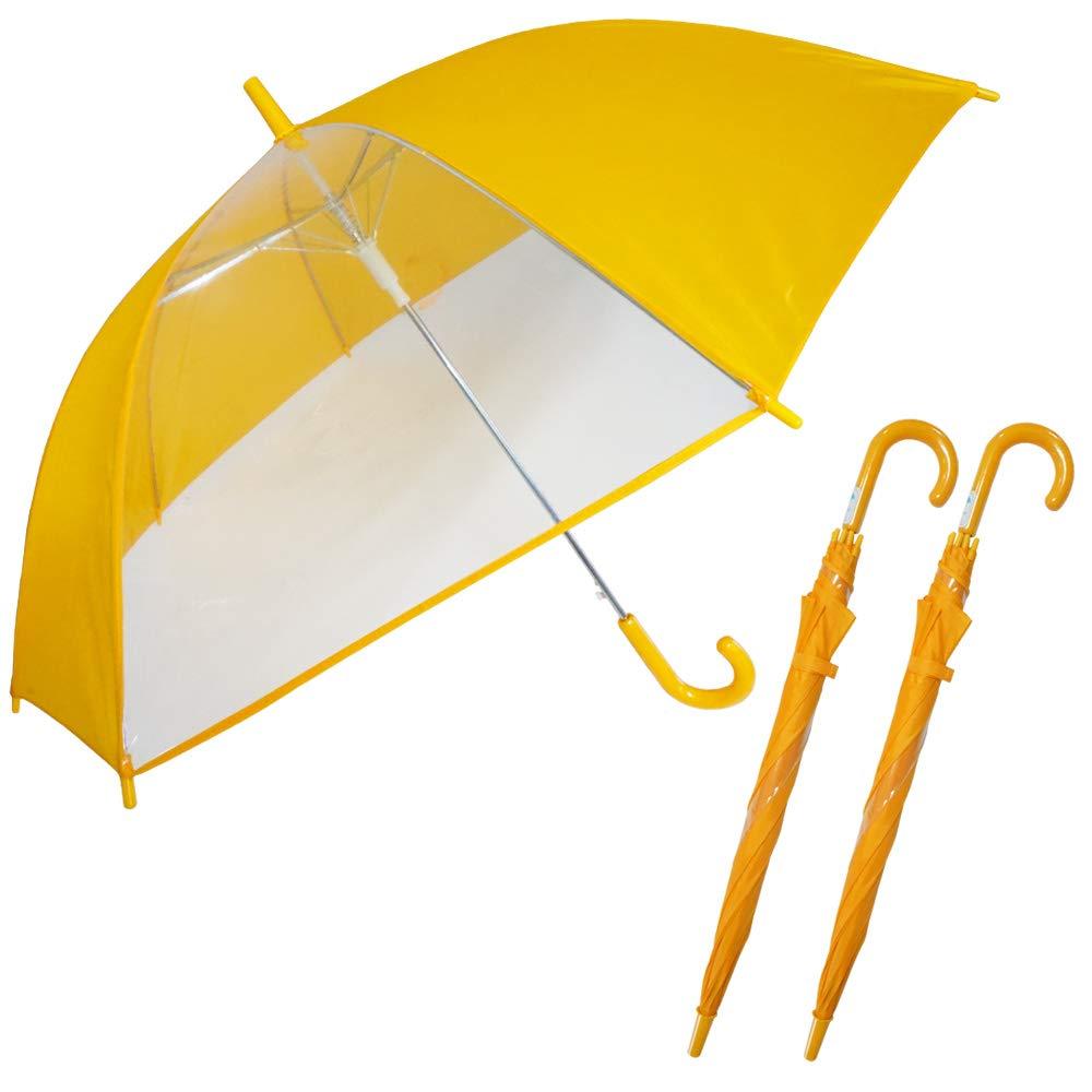 rainbow charm 長傘 学童用ジャンプ傘 (30本セット) 子供傘 キッズ アンブレラ 1コマ 透明 窓付き 通学 親骨55cm 定番 イエロー B07MG4R628  30