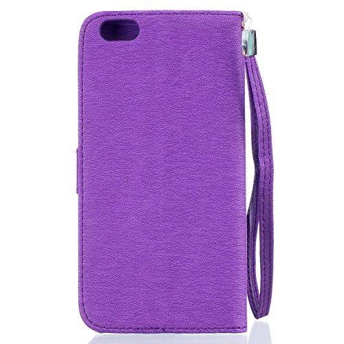 Voguecase® Pour Apple iPhone 6 Plus/6s Plus 5,5 Coque, Etui Housse Cuir Portefeuille Case Cover (Papillon III-Proupre)de Gratuit stylet l'écran aléatoire universelle