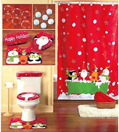 Red Gold Waterproof Bathroom Curtain Santa Shower Curtain with 12 Hooks Toilet Lid Cover and Bath Mat Dekoresyon 4 Pcs Merry Christmas Shower Curtain Sets with Non-Slip Rugs