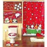 16 piece CHRISTMAS themed Bathroom Set Holiday Reindeer SANTA shower curtain, hooks, toilet lid cover, tank cover & contour rug