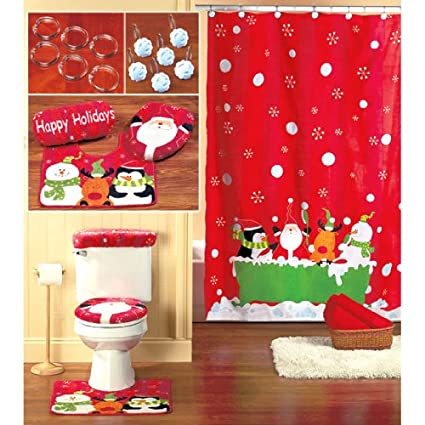 16 Piece CHRISTMAS Themed Bathroom Set Holiday Reindeer SANTA Shower Curtain Hooks Toilet Lid