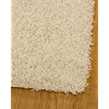 NaturalAreaRugs Isla Collection Polyester Shag Area Rug, Durable, Luxurious, Soft, Elegant, Earth/Eco-Friendly, Ivory Color, (5 Feet 3 Inches X 7 Feet 5 Inches)