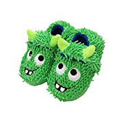LA PLAGE Boy's Cotton-Shaped Monster Upper House Cartoon Slippers Size Toddler 5 US Green
