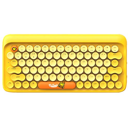 - Lofree x B.Duck Keyboard Set, DOT Bluetooth Wireless Mechanical Retro Keyboard for Mac, Android, Windows with Gateron Blue Switch and Rechargeable Battery,Keyboard+Wrist Rest Pad+Keyboard Mat (Yellow)
