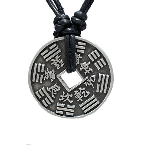 exoticdream Chinese Lucky i-Ching Coin Charm Pewter Pendant + Rope Necklace Adjustable - 8 - Coin Bracelet Lucky