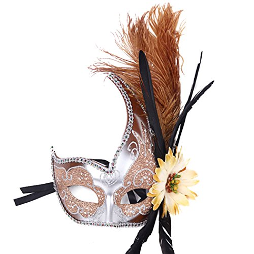 Brown Masquerade Masks (Venetian Fancy Dress Mask Fluff Feather Diamond Lace for Party Ball Masks)