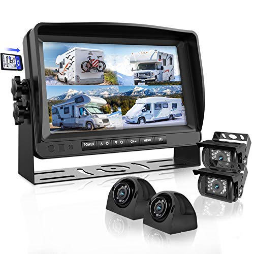 Backup Camera System with 9'' Large Monitor and DVR for RV semi Box Truck Trailer Rear and Side View Quad HD Camera 4…