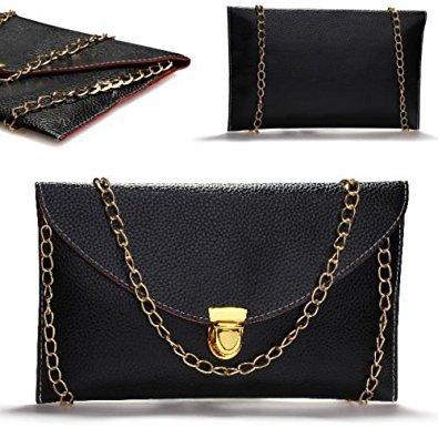 Portefeuille Epauler R Serviette main TOOGOO Feminin port Envelope Noir Strap Chain a Sac 1HwtBzxq