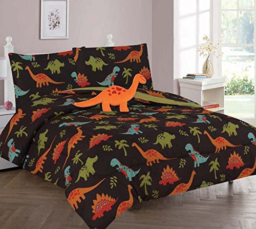 Elegant Home Multicolor Black Brown Blue Green Dinosaurs Jurassic Park Design 6 Piece Comforter Bedding Set for Boys / Kids Bed In a Bag With Sheet Set & Decorative TOY Pillow # Dinosaurs Brown (Twin)