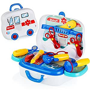 kidzzy toys Kids Complete Toy Doctor Medical Kit with Carrying Case, Great for Imaginative Pretend Role Play, Boys and Girls of All Ages, Toddlers, and Parents Too