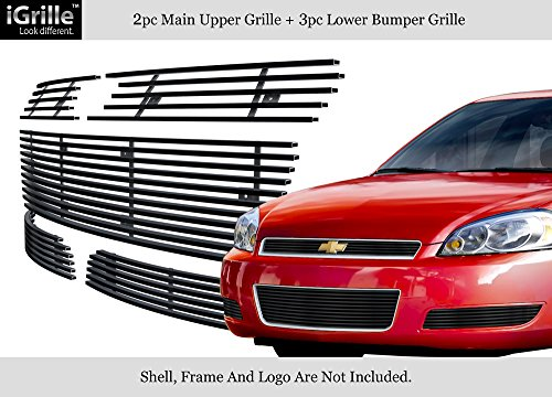 Fits 2006-2009 Chevy Impala Stainless Steel Black Billet Grille Combo Chevy Impala Billet Grille