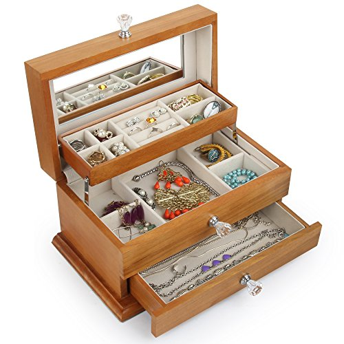 Real Natural Hardwood Wooden Jewelry Box (2-ZH-WJC3AK) by Kendal