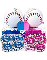 Gender Reveal Baseball Set - 2 Balls - Pink and Blue Exploding with Powder Plus 20 Pink & Blue Baby Gender Voting Stickers