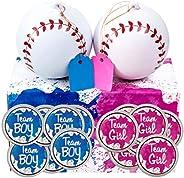 Gender Reveal Baseball Set - 2 Balls - Pink and Blue Exploding with Powder Plus 20 Pink & Blue Baby Gender