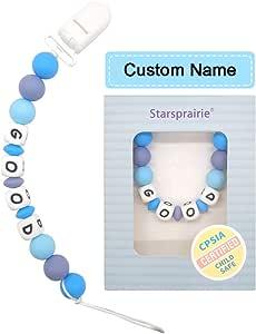 Bebé Chupetero Mordedor Personalizado con Nombre Silicona Soothie chupete Holder & Binky Clips, mejores regalos de Baby Shower (Azul): Amazon.es: Bebé