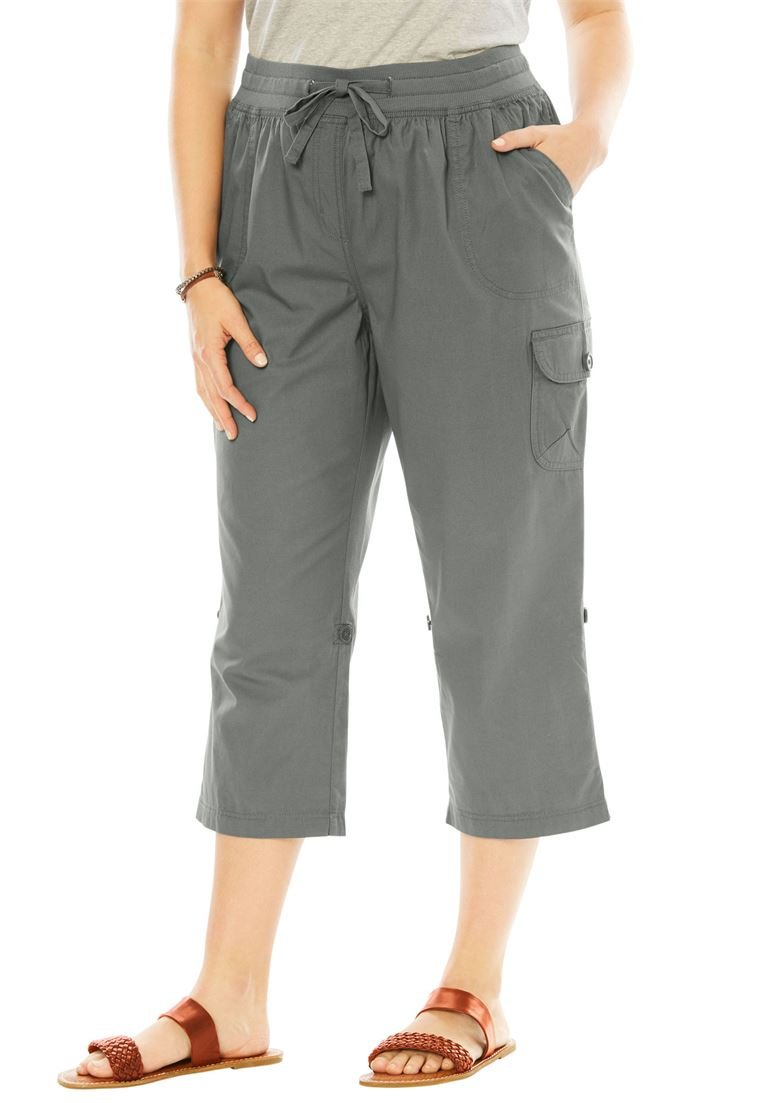 Woman Within Women's Plus Size Petite Convertible-Length Cotton Cargo Capri Pants