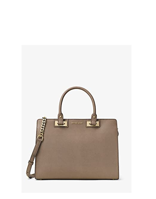 Michael Kors Quinn Large Saffiano Leather Satchel in Dark