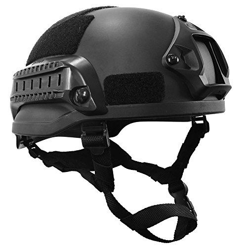 - OneTigris MICH 2002 Action Version Tactical Helmet ABS Helmet for Airsoft Paintball (Black)