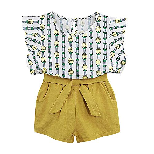 Little Kid Girl Clothes Floral Vest T-Shirt Tops +Shorts Pant with Cute Sun Hat 3Pcs Summer Casual Outfits Set (B-Yellow, 7-8 T)